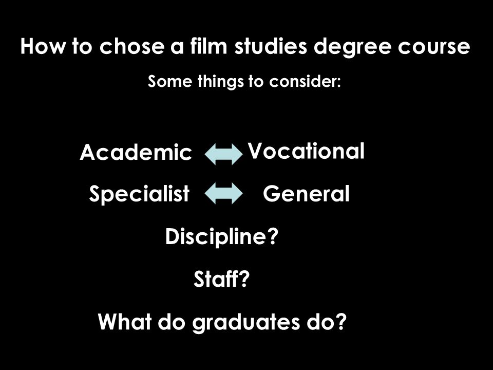 Some things to consider: Academic Vocational SpecialistGeneral Discipline? Staff? What do graduates do?