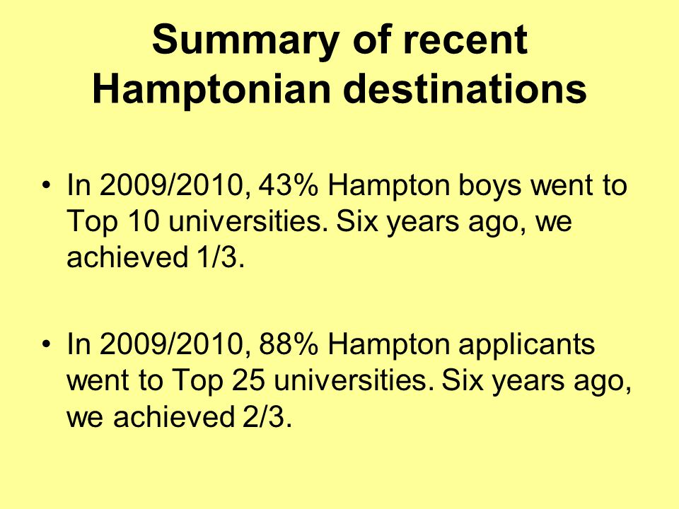 Summary of recent Hamptonian destinations In 2009/2010, 43% Hampton boys went to Top 10 universities.