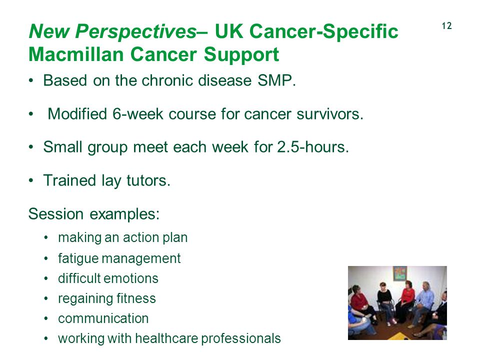 New Perspectives– UK Cancer-Specific Macmillan Cancer Support Based on the chronic disease SMP. Modified 6-week course for cancer survivors. Small gro