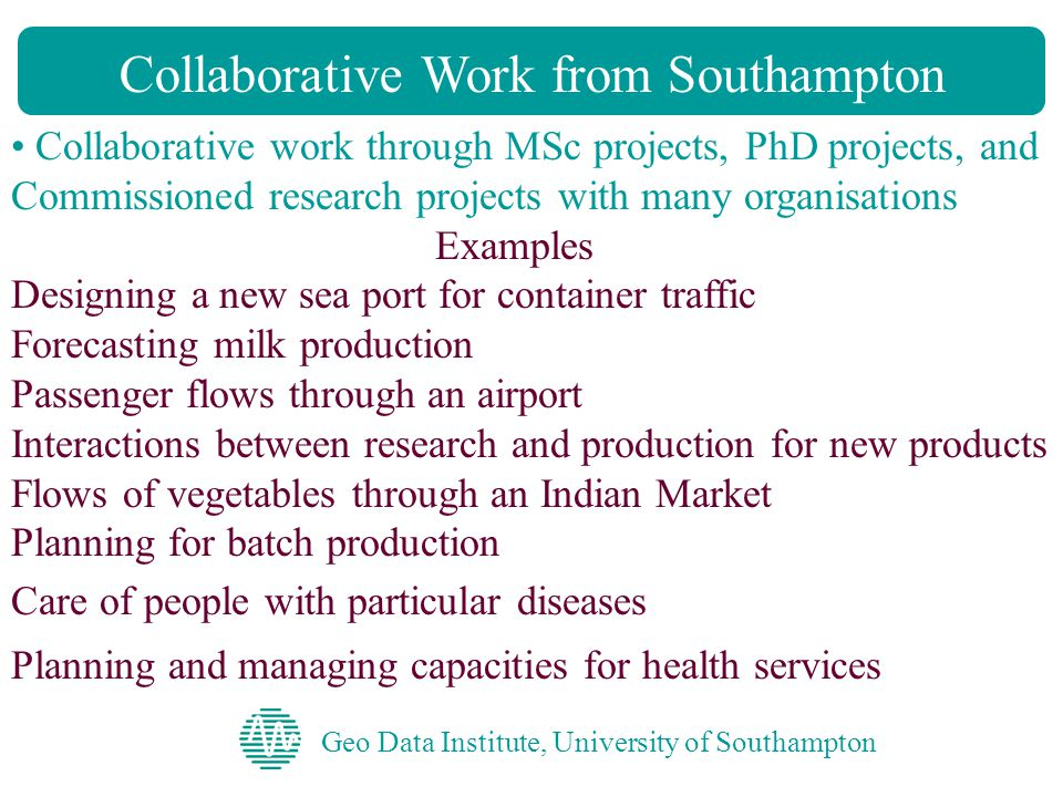 Geo Data Institute, University of Southampton Collaborative Work from Southampton Collaborative work through MSc projects, PhD projects, and Commissioned research projects with many organisations Examples Designing a new sea port for container traffic Forecasting milk production Passenger flows through an airport Interactions between research and production for new products Flows of vegetables through an Indian Market Planning for batch production Care of people with particular diseases Planning and managing capacities for health services