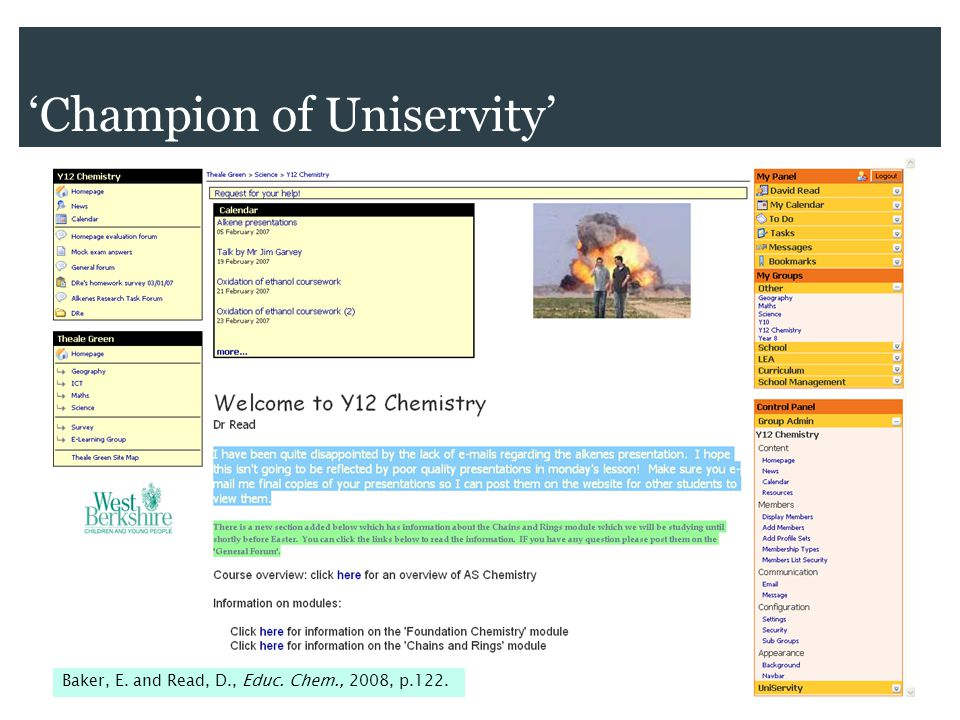 'Champion of Uniservity' Baker, E. and Read, D., Educ. Chem., 2008, p.122.