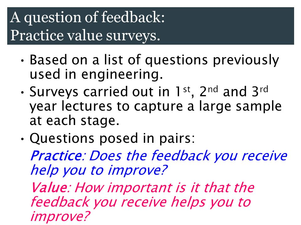Based on a list of questions previously used in engineering. Surveys carried out in 1 st, 2 nd and 3 rd year lectures to capture a large sample at eac