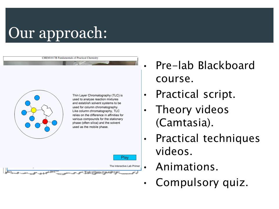 Our approach: Pre-lab Blackboard course. Practical script.