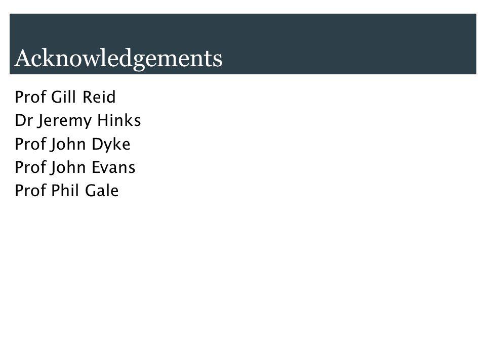 Acknowledgements Prof Gill Reid Dr Jeremy Hinks Prof John Dyke Prof John Evans Prof Phil Gale
