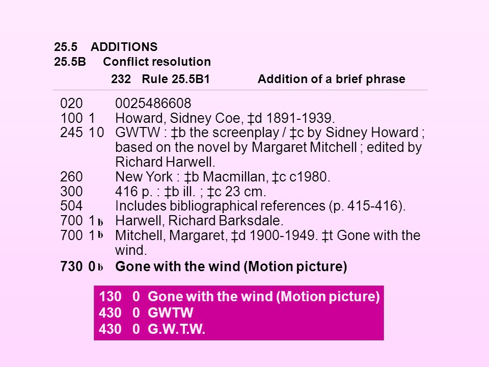 25.5ADDITIONS 25.5BConflict resolution 0200025486608 1001Howard, Sidney Coe, ‡d 1891-1939. 24510GWTW : ‡b the screenplay / ‡c by Sidney Howard ; based