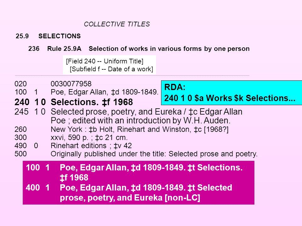 25.9SELECTIONS 0200030077958 100 1Poe, Edgar Allan, ‡d 1809-1849. 240 10Selections. ‡f 1968 245 10Selected prose, poetry, and Eureka / ‡c Edgar Allan