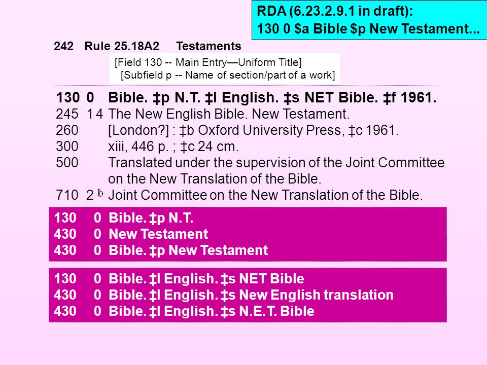 1300Bible. ‡p N.T. ‡l English. ‡s NET Bible. ‡f 1961. 24514The New English Bible. New Testament. 260[London?] : ‡b Oxford University Press, ‡c 1961. 3
