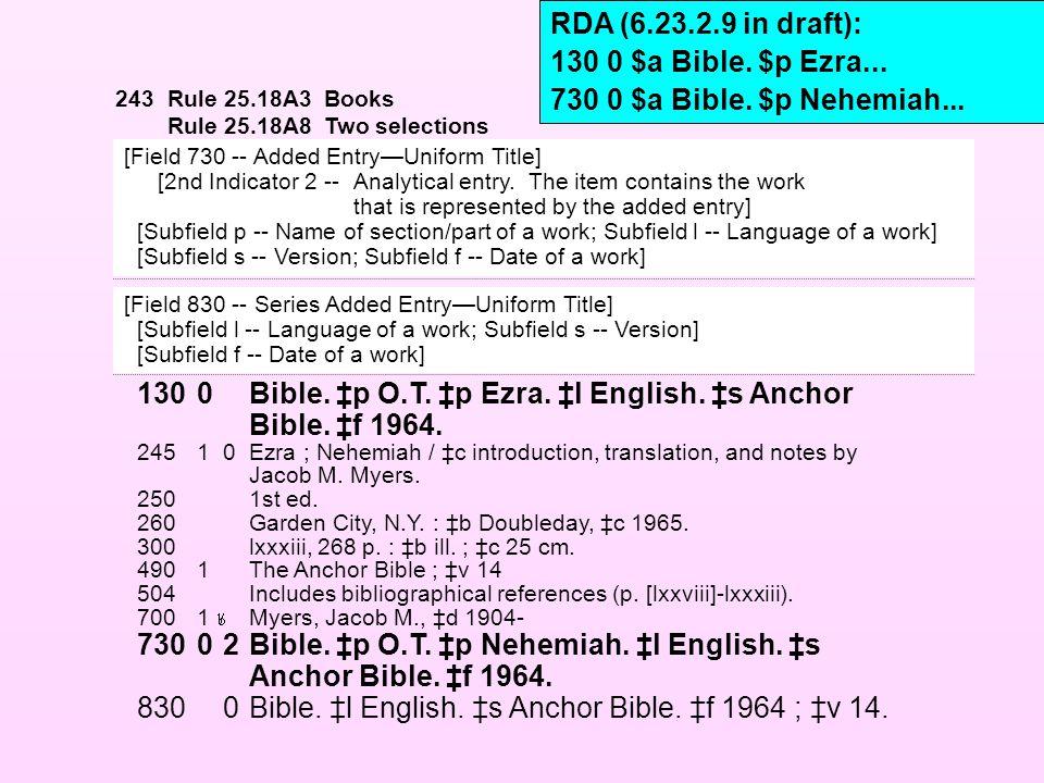 1300Bible. ‡p O.T. ‡p Ezra. ‡l English. ‡s Anchor Bible. ‡f 1964. 24510Ezra ; Nehemiah / ‡c introduction, translation, and notes by Jacob M. Myers. 25