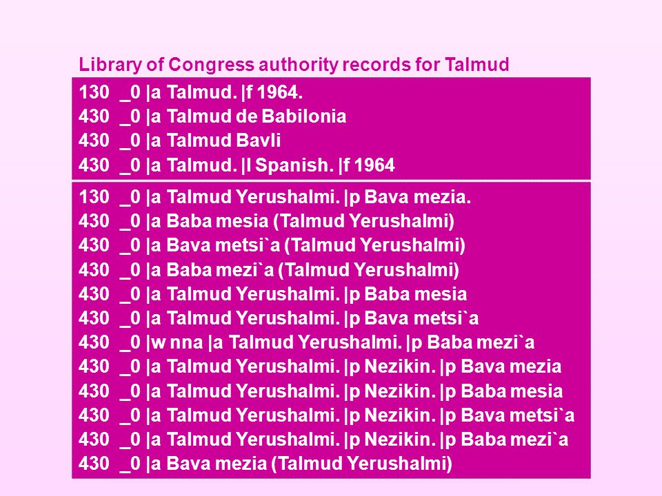 130 _0 |a Talmud. |f 1964. 430_0 |a Talmud de Babilonia 430_0 |a Talmud Bavli 430_0 |a Talmud. |l Spanish. |f 1964 Library of Congress authority recor