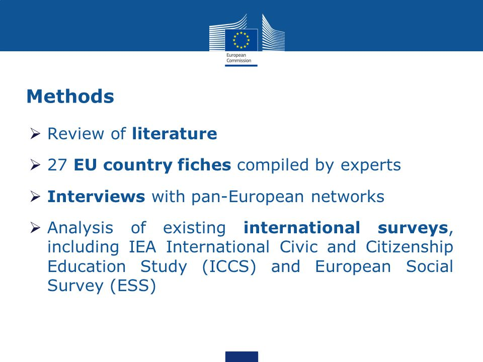Methods  Review of literature  27 EU country fiches compiled by experts  Interviews with pan-European networks  Analysis of existing international surveys, including IEA International Civic and Citizenship Education Study (ICCS) and European Social Survey (ESS)