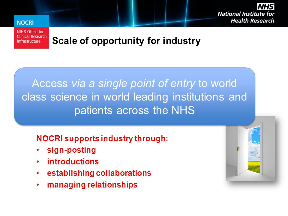 Scale of opportunity for industry NOCRI supports industry through: sign-posting introductions establishing collaborations managing relationships Access via a single point of entry to world class science in world leading institutions and patients across the NHS