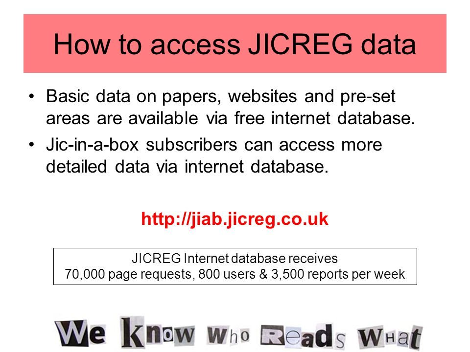 How to access JICREG data Basic data on papers, websites and pre-set areas are available via free internet database.