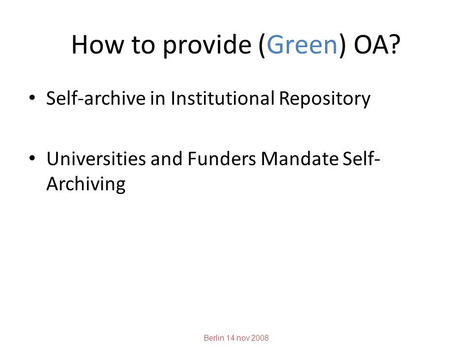 How to provide (Green) OA.