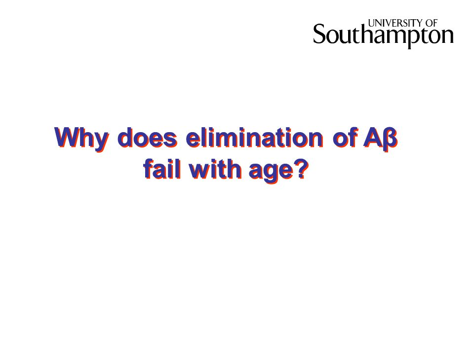 Why does elimination of Aβ fail with age?