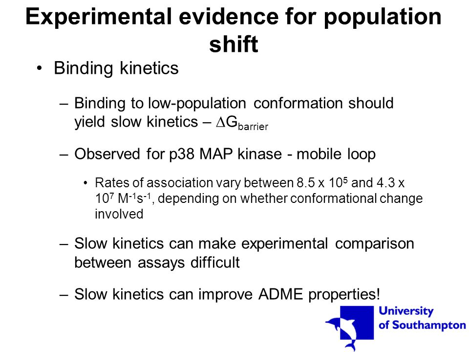 Experimental evidence for population shift Binding kinetics –Binding to low-population conformation should yield slow kinetics –  G barrier –Observed