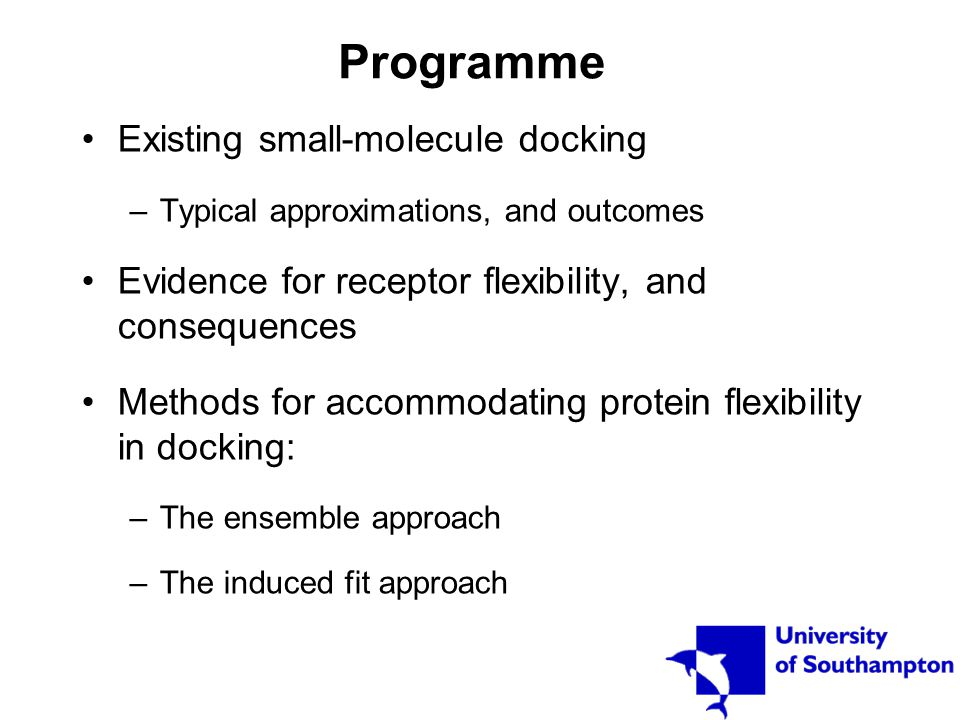 Docking methods for incorporating receptor flexibility Ensemble docking –Docking to individual protein structures, or parts of protein structures – ensemble docking –Docking to a single average structure – soft docking Induced fit modelling Carlson, H.A.
