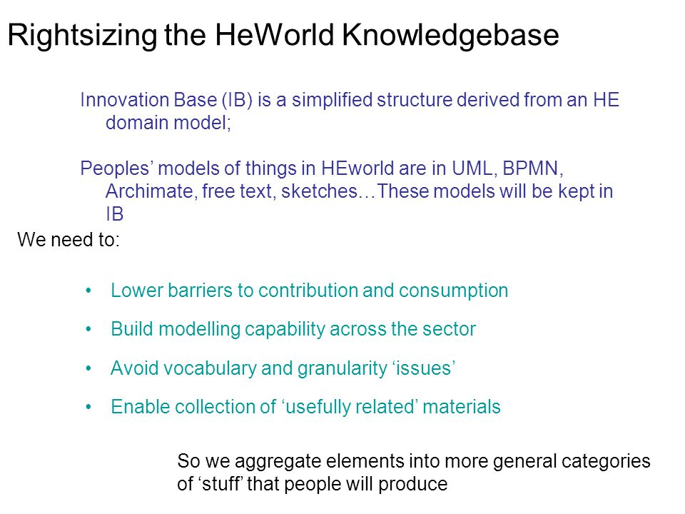 Rightsizing the HeWorld Knowledgebase Lower barriers to contribution and consumption Build modelling capability across the sector Avoid vocabulary and granularity 'issues' Enable collection of 'usefully related' materials We need to: So we aggregate elements into more general categories of 'stuff' that people will produce Innovation Base (IB) is a simplified structure derived from an HE domain model; Peoples' models of things in HEworld are in UML, BPMN, Archimate, free text, sketches…These models will be kept in IB