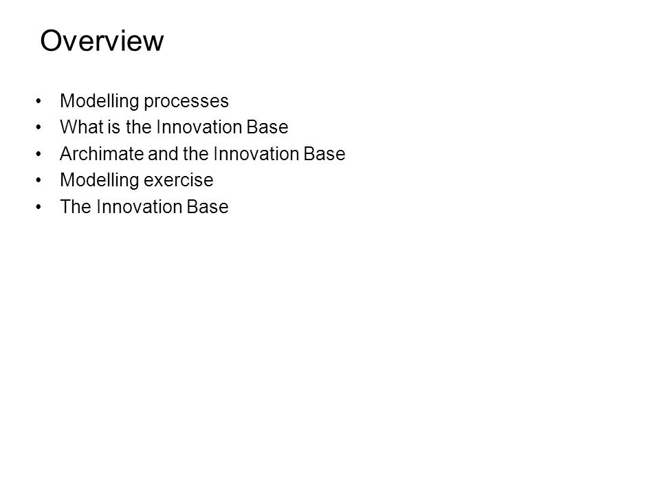 Overview Modelling processes What is the Innovation Base Archimate and the Innovation Base Modelling exercise The Innovation Base