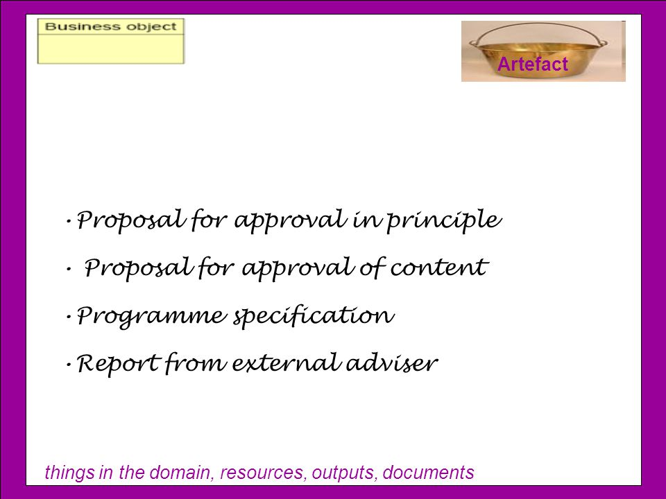 things in the domain, resources, outputs, documents Artefact Proposal for approval in principle Proposal for approval of content Programme specification Report from external adviser