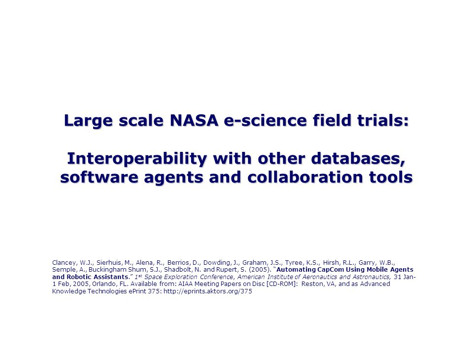 © Simon Buckingham Shum 2 Large scale NASA e-science field trials: Interoperability with other databases, software agents and collaboration tools Clancey, W.J., Sierhuis, M., Alena, R., Berrios, D., Dowding, J., Graham, J.S., Tyree, K.S., Hirsh, R.L., Garry, W.B., Semple, A., Buckingham Shum, S.J., Shadbolt, N.