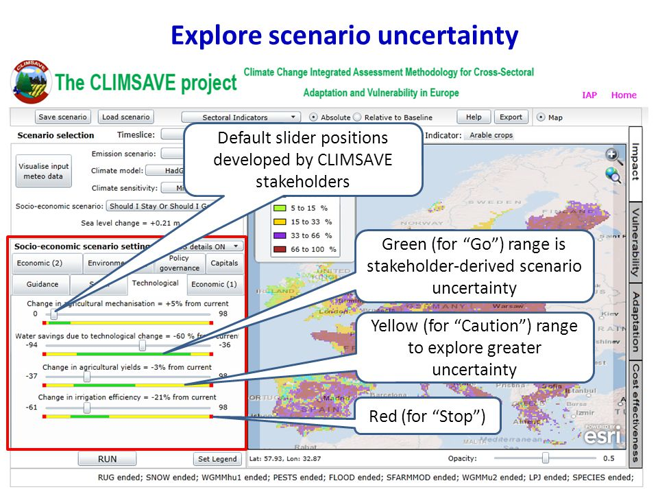 Explore scenario uncertainty Default slider positions developed by CLIMSAVE stakeholders Green (for Go ) range is stakeholder-derived scenario uncertainty Yellow (for Caution ) range to explore greater uncertainty Red (for Stop )