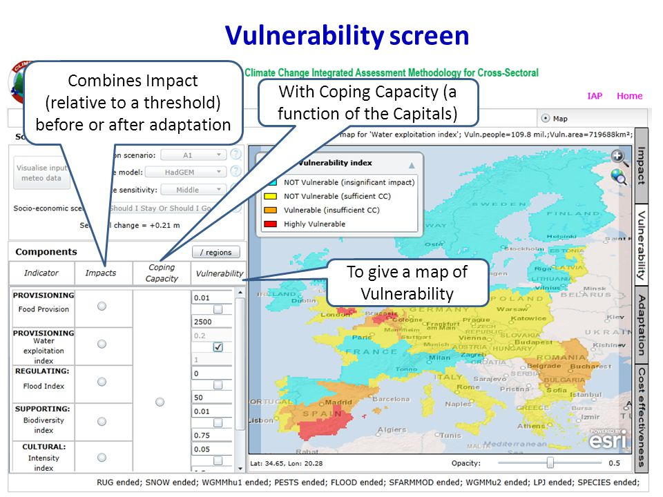 Vulnerability screen With Coping Capacity (a function of the Capitals) Combines Impact (relative to a threshold) before or after adaptation To give a map of Vulnerability