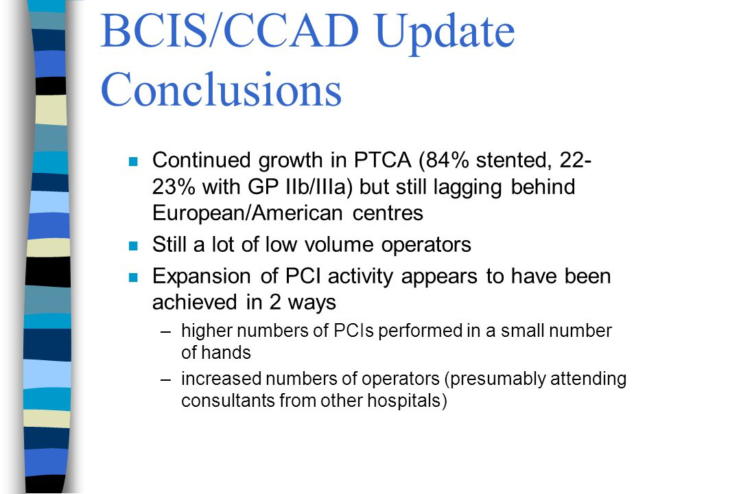 BCIS/CCAD Update Conclusions n Continued growth in PTCA (84% stented, 22- 23% with GP IIb/IIIa) but still lagging behind European/American centres n Still a lot of low volume operators n Expansion of PCI activity appears to have been achieved in 2 ways –higher numbers of PCIs performed in a small number of hands –increased numbers of operators (presumably attending consultants from other hospitals)