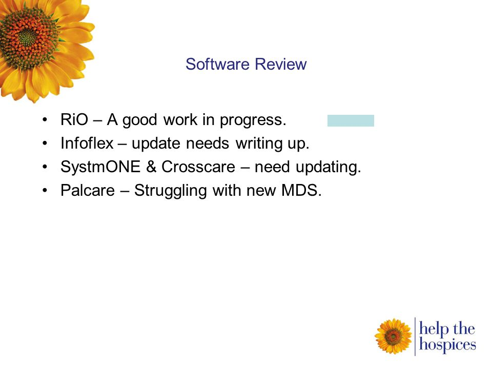 Software Review RiO – A good work in progress. Infoflex – update needs writing up.