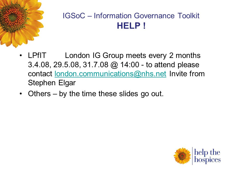 IGSoC – Information Governance Toolkit HELP .