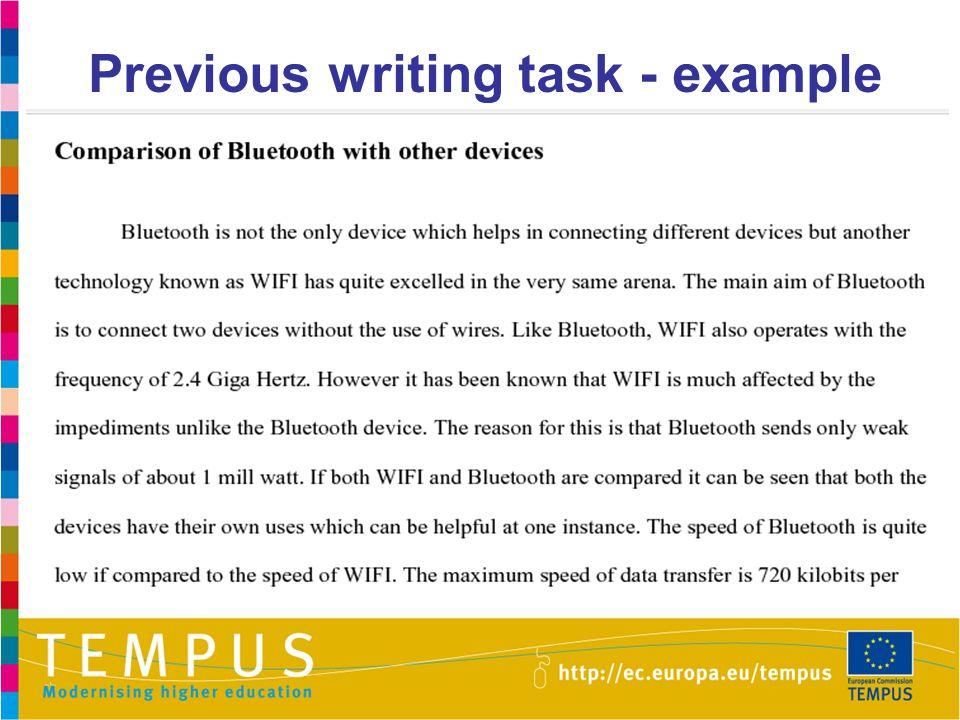 Previous writing task - example