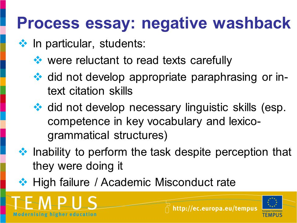 Process essay: negative washback  In particular, students:  were reluctant to read texts carefully  did not develop appropriate paraphrasing or in-