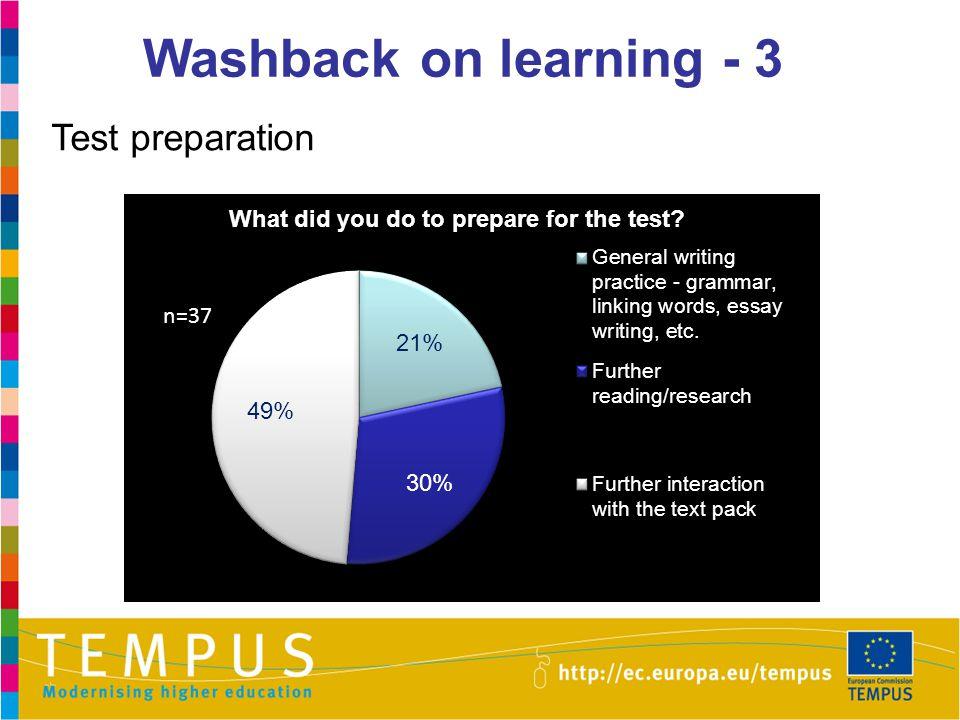 Washback on learning - 3 Test preparation