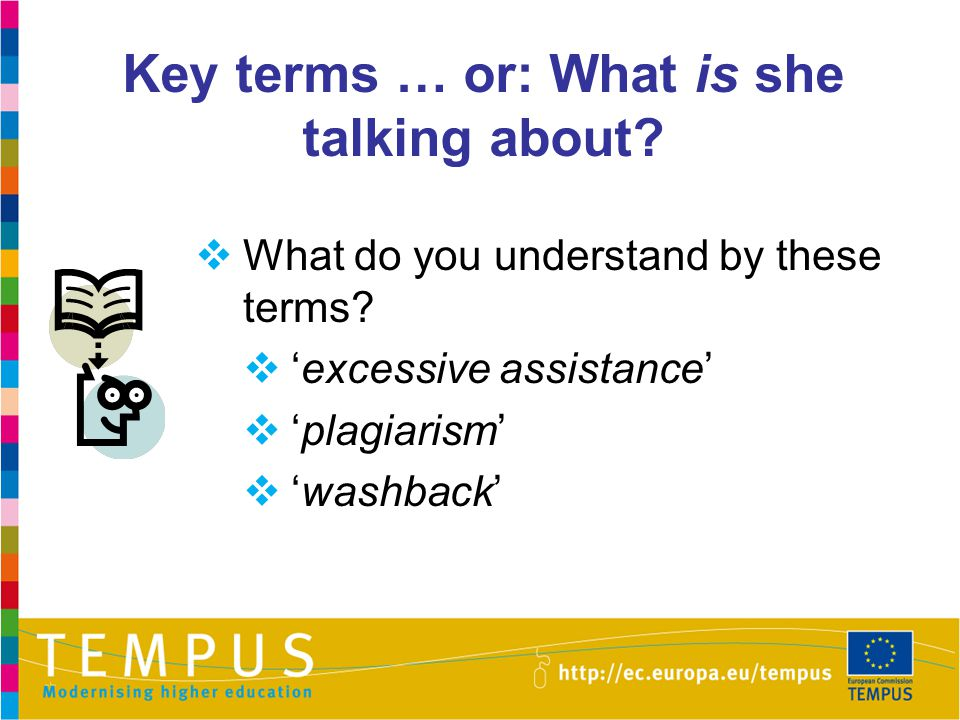Key terms … or: What is she talking about?  What do you understand by these terms?  'excessive assistance'  'plagiarism'  'washback'