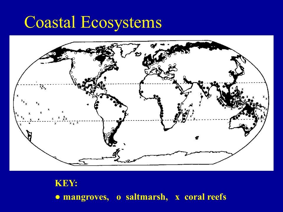 Coastal Ecosystems KEY: ● mangroves, o saltmarsh, x coral reefs