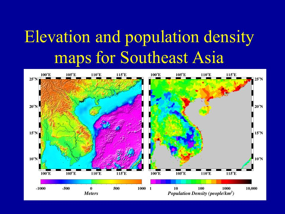 Elevation and population density maps for Southeast Asia