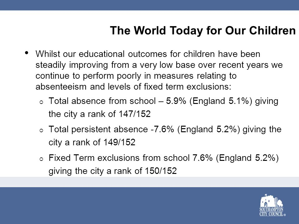 Whilst our educational outcomes for children have been steadily improving from a very low base over recent years we continue to perform poorly in measures relating to absenteeism and levels of fixed term exclusions:  Total absence from school – 5.9% (England 5.1%) giving the city a rank of 147/152  Total persistent absence -7.6% (England 5.2%) giving the city a rank of 149/152  Fixed Term exclusions from school 7.6% (England 5.2%) giving the city a rank of 150/152 The World Today for Our Children