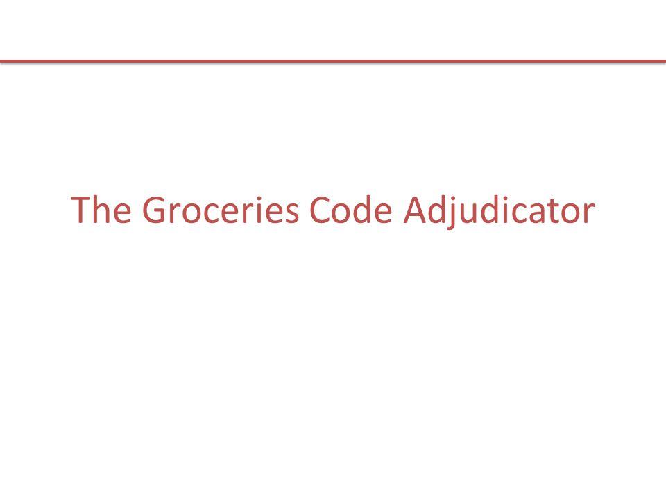 Contacting the Groceries Code Adjudicator Groceries Code Adjudicator Room 2.17 Victoria House Southampton Row Holborn, London WC1B 4DA