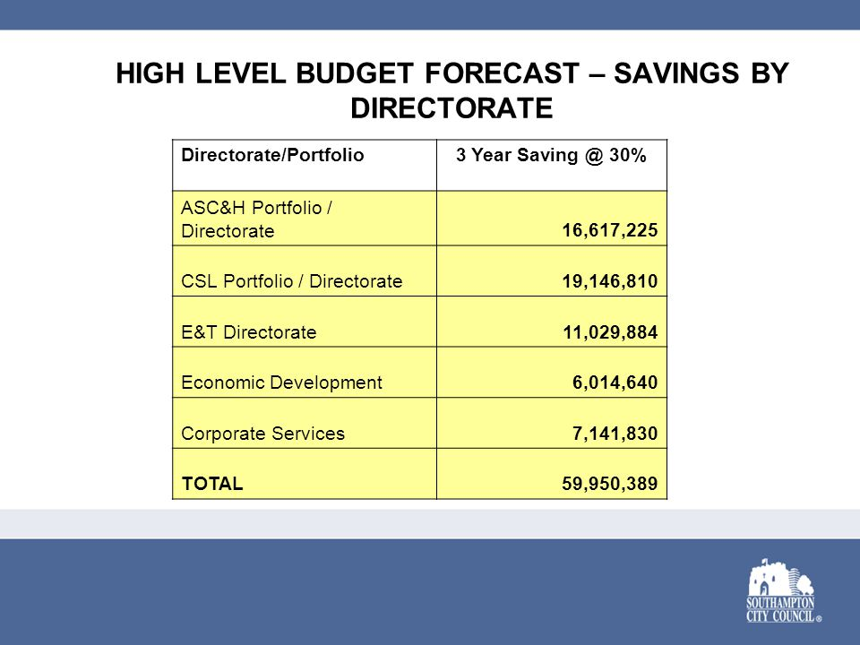 HIGH LEVEL BUDGET FORECAST – SAVINGS BY DIRECTORATE Directorate/Portfolio3 Year Saving @ 30% ASC&H Portfolio / Directorate16,617,225 CSL Portfolio / D
