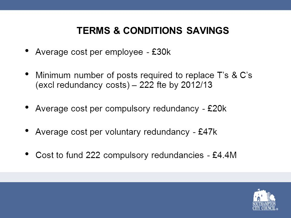 Average cost per employee - £30k Minimum number of posts required to replace T's & C's (excl redundancy costs) – 222 fte by 2012/13 Average cost per c