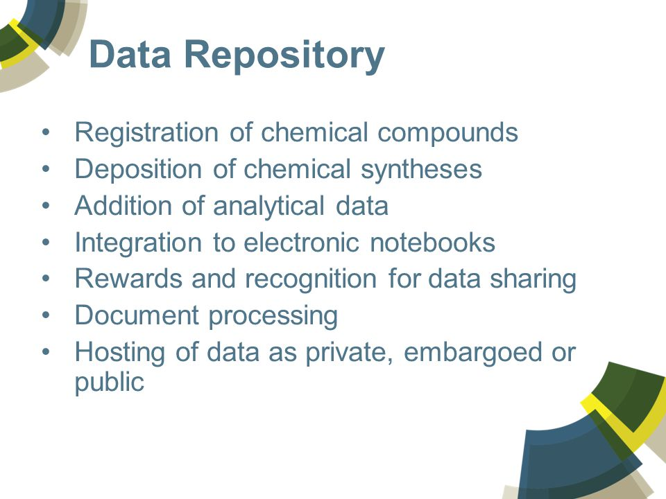 Data Repository Registration of chemical compounds Deposition of chemical syntheses Addition of analytical data Integration to electronic notebooks Rewards and recognition for data sharing Document processing Hosting of data as private, embargoed or public