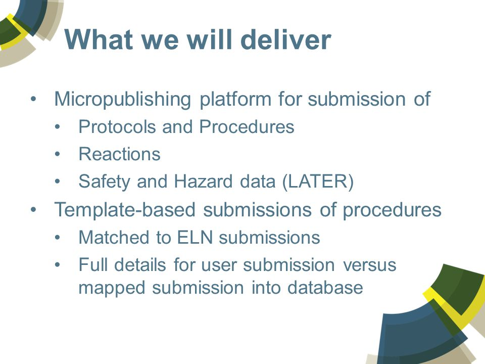 What we will deliver Micropublishing platform for submission of Protocols and Procedures Reactions Safety and Hazard data (LATER) Template-based submissions of procedures Matched to ELN submissions Full details for user submission versus mapped submission into database