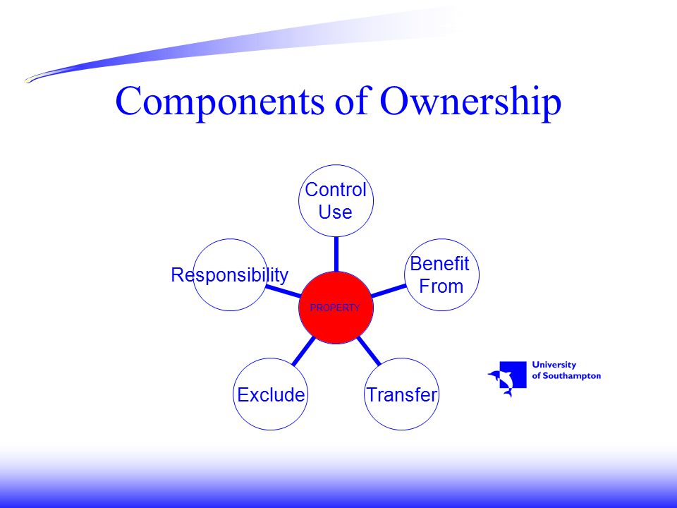 Components of Ownership PROPERTY Control Use Benefit From TransferExcludeResponsibility