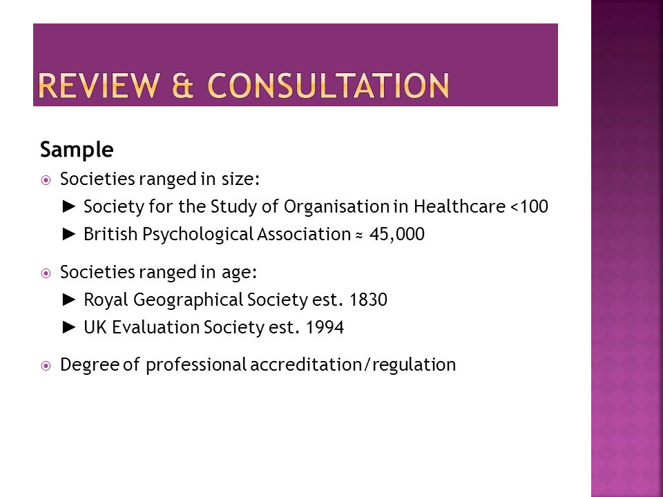 Sample  Societies ranged in size: ► Society for the Study of Organisation in Healthcare <100 ► British Psychological Association ≈ 45,000  Societies ranged in age: ► Royal Geographical Society est.