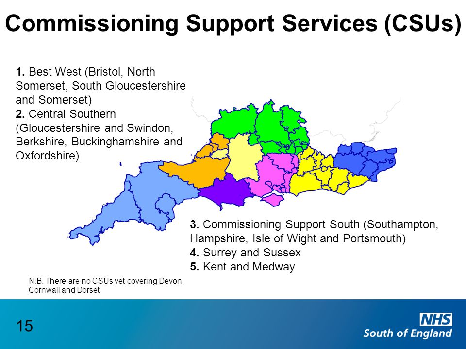 Commissioning Support Services (CSUs) 1. Best West (Bristol, North Somerset, South Gloucestershire and Somerset) 2. Central Southern (Gloucestershire