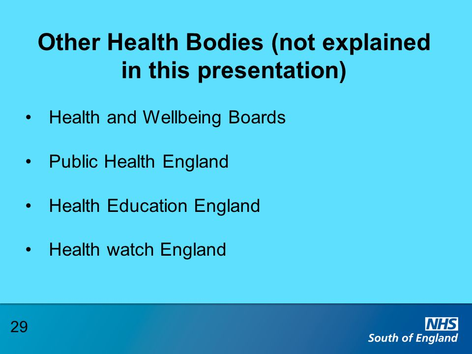 Other Health Bodies (not explained in this presentation) Health and Wellbeing Boards Public Health England Health Education England Health watch Engla
