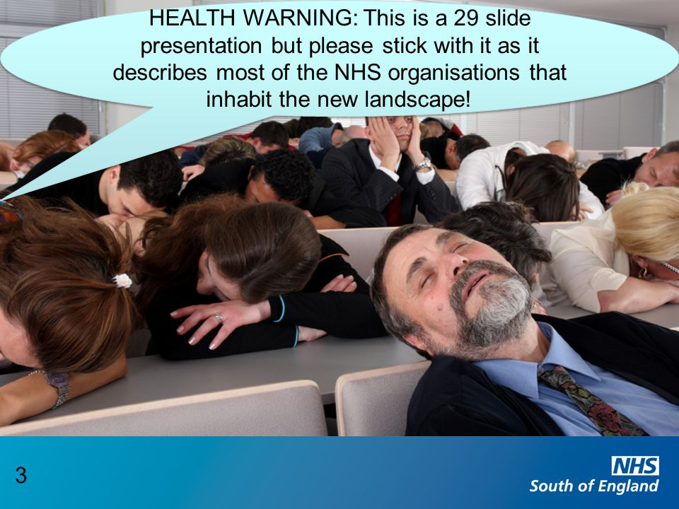 HEALTH WARNING: This is a 29 slide presentation but please stick with it as it describes most of the NHS organisations that inhabit the new landscape!