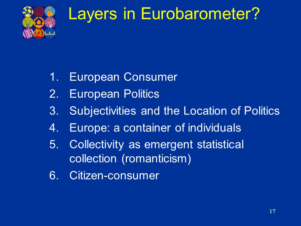 17 1.European Consumer 2.European Politics 3.Subjectivities and the Location of Politics 4.Europe: a container of individuals 5.Collectivity as emerge