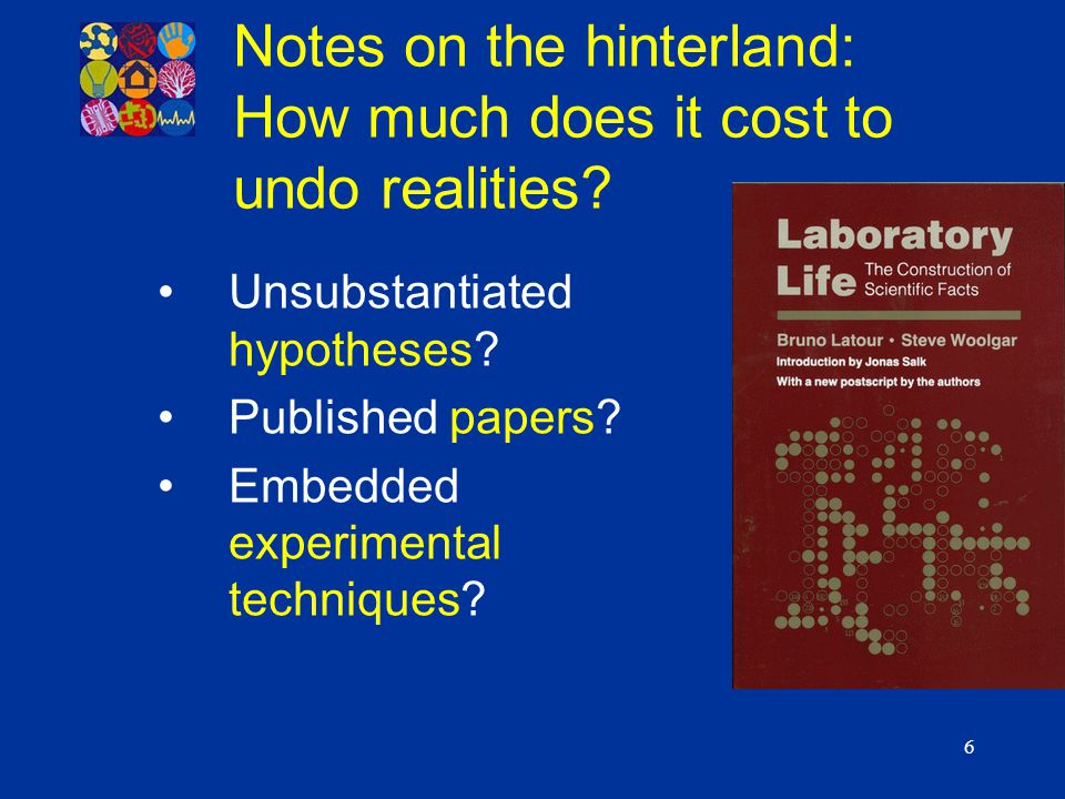 6 Notes on the hinterland: How much does it cost to undo realities? Unsubstantiated hypotheses? Published papers? Embedded experimental techniques?