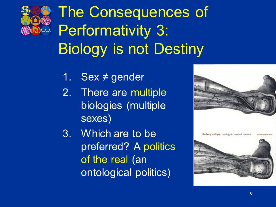 9 1.Sex ≠ gender 2.There are multiple biologies (multiple sexes) 3.Which are to be preferred? A politics of the real (an ontological politics) The Con