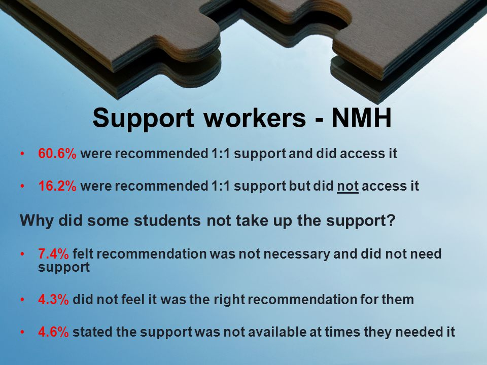 60.6% were recommended 1:1 support and did access it 16.2% were recommended 1:1 support but did not access it Why did some students not take up the support.